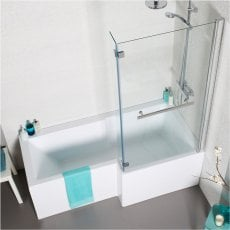 Prestige Tetris L-Shaped Shower Bath with Front Panel and Screen 1500mm x 700mm/850mm Right Handed