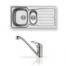 Pyramis Vera 1.5 Bowl Inset Kitchen Sink with Sink Mixer Tap and Waste Kit 1000mm L x 500mm W - Stainless Steel