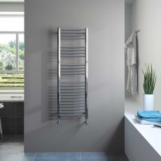 Radox Premier XL Slimline Straight Heated Towel Rail 600mm H x 300mm W - Stainless Steel