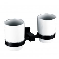 RAK Cubis Double Tumbler and Holder Wall Mounted - Black