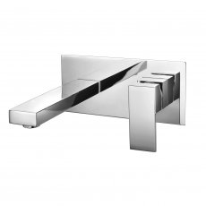 RAK Cubis Wall Mounted Basin Mixer Tap with Back Plate - Chrome