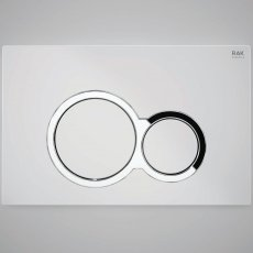RAK Ecofix Polished Chrome Surrounding Round Dual Flush Plates - White