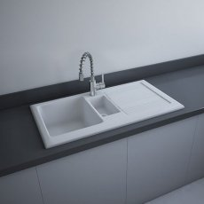 RAK Gourmet 1 Ceramic Kitchen Sink 1.5 Bowl 1010mm L x 510mm W - White