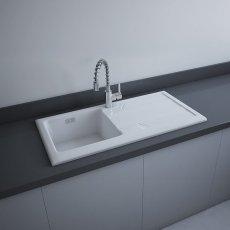 RAK Gourmet 4 Ceramic Kitchen Sink 1.0 Bowl 1010mm L x 510mm W - White
