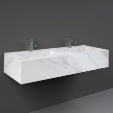 RAK Precious Wall Hung Console Wash Basin 1230mm Wide 2 Tap Hole - Carrara
