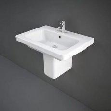 RAK Resort Wash Basin & Semi Pedestal 650mm Wide 1 Tap Hole
