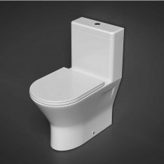 RAK Resort Mini Close Coupled Back to Wall Rimless Toilet WC Pack - Slim Sandwich Soft Close Seat
