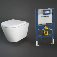 RAK Resort Wall Hung Rimless Pan with Duofix 820mm Toilet Frame - Soft Close Seat
