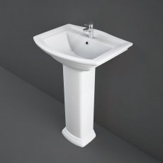 RAK Washington Basin with Small Full Pedestal 560mm Wide - 1 Tap Hole