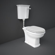 RAK Washington Low Level Toilet with Horizontal Outlet - White Soft Close Wood Seat