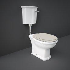 RAK Washington Low Level Toilet with Horizontal Outlet - Greige Soft Close Wood Seat
