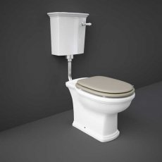 RAK Washington Low Level Toilet with Horizontal Outlet - Cappuccino Soft Close Wood Seat