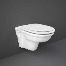 RAK Washington Rimless Wall Hung Toilet 560mm Projection - White Soft Close Wood Seat