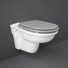 RAK Washington Rimless Wall Hung Toilet 560mm Projection - Grey Soft Close Wood Seat