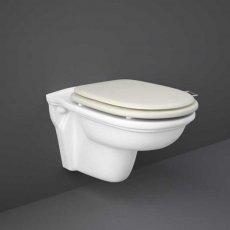 RAK Washington Rimless Wall Hung Toilet 560mm Projection - Greige Soft Close Wood Seat