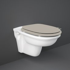 RAK Washington Wall Hung Toilet 560mm Projection - Cappuccino Soft Close Wood Seat