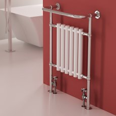 RAK Washington Traditional Radiator Heated Towel Rail 960mm H x 675mm W - Chrome/White