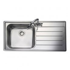 Rangemaster Oakland 1.0 Bowl Kitchen Sink RH 985mm L x 508mm W - Stainless Steel
