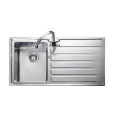 Rangemaster Rockford 1.0 Bowl Kitchen Sink RH Drainer 985mm L x 508mm W - Stainless Steel