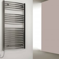 Reina Capo Curved Thermostatic Electric Heated Towel Rail 800mm H x 400mm W Chrome