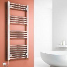 Reina Capo Straight Thermostatic Electric Heated Towel Rail 1000mm H x 400mm W Chrome
