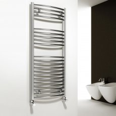 Reina Diva Electric Curved Heated Towel Rail 1200mm H x 400mm W Chrome