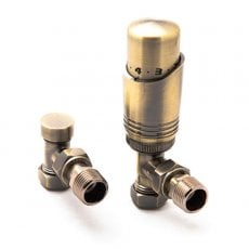 Reina Modal TRV Angled Radiator Valve and LockShield, Bronze