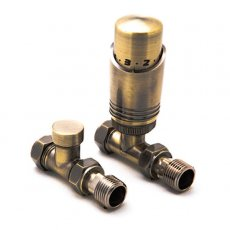 Reina Modal TRV Straight Radiator Valve and LockShield, Bronze