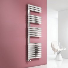 Reina Scalo Designer Heated Towel Rail 1535mm H x 500mm W Brushed Stainless Steel