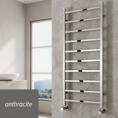 Reina Serena Square Tube Heated Towel Rail 500mm H x 500mm W Anthracite