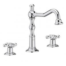 Roca Carmen 3-Hole Deck Mounted Basin Mixer Tap with Click Clack Waste - Chrome