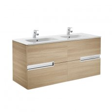 Roca Victoria-N Unik 4-Drawers Vanity Unit with Double Basin 1200mm Wide Textured Oak 2 Tap Hole