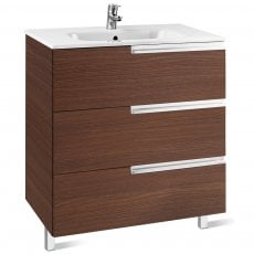Roca Victoria-N Unik 3-Drawers Vanity Unit with Basin 800mm Wide Textured Wenge 1 Tap Hole