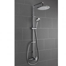 Sagittarius Ergo Fully Adjustable Thermostatic Exposed Shower Valve with Riser Kit and Fixed Head - Chrome