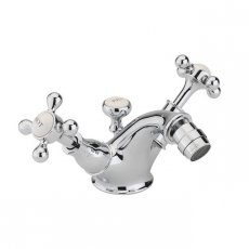 Sagittarius Kensington Monobloc Bidet Mixer Tap with Pop Up Waste - Chrome/White