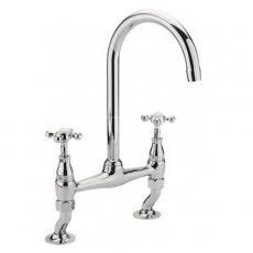 Sagittarius Kensington Bridge Crosshead Kitchen Sink Mixer Tap - Chrome/White