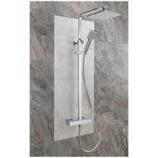 Sagittarius Stark Cube Bar Shower Mixer with Shower Kit + Fixed Head - Chrome