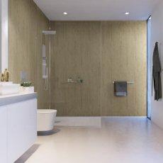 Showerwall Proclick MDF Shower Panel 600mm Wide x 2440mm High - Travertine Stone