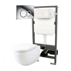 Signature Opaz Wall Hung Toilet with Soft Close Seat and 1140mm WC Frame + ISO Flush Plate