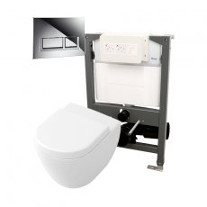 Signature Opaz Compact Wall Hung Toilet with Soft Close Seat and 820mm WC Frame + Trend Flush Plate