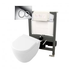 Signature Opaz Compact Wall Hung Toilet with Soft Close Seat and 820mm WC Frame + ISO Flush Plate