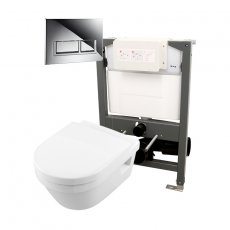 Signature Opaz 2 Wall Hung Toilet with Soft Close Seat and 820mm WC Frame + Trend Flush Plate