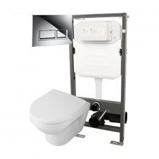 Signature Opaz 2 Compact Wall Hung Toilet with Soft Close Seat and 1140mm WC Frame + Trend Flush Plate