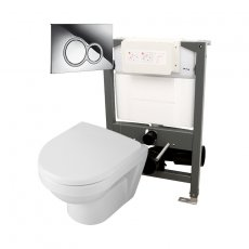 Signature Opaz 2 Compact Wall Hung Toilet with Soft Close Seat and 820mm WC Frame + ISO Flush Plate