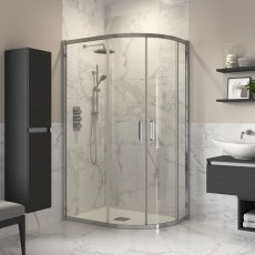Signature Inca8 Double Door Offset Quadrant Shower Enclosure 1000mm x 800mm - 8mm Glass