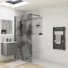 Signature Inca8 Black Leaf Wet Room Screen 1200mm Wide - 8mm Glass