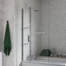 Signature Two Panel Folding Bath Screen With Rail 1500mm High x 1000mm Wide - 6mm Glass