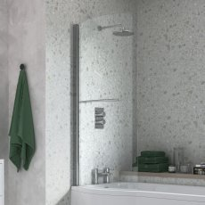 Signature P-Shaped Bath Screen with Rail 1500mm High x 760mm Wide - 6mm Glass