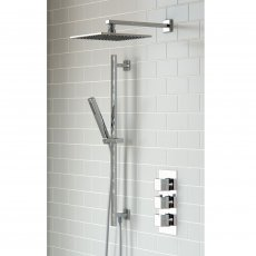 Signature Square Triple Concealed Mixer Shower with Shower Kit + Fixed Head - Chrome