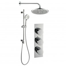 Signature Round Triple Concealed Mixer Shower with Handset and Fixed Head - Chrome